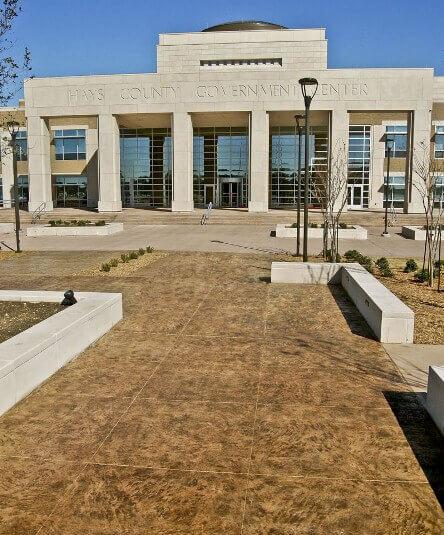 Hays County Government facility decorative concrete