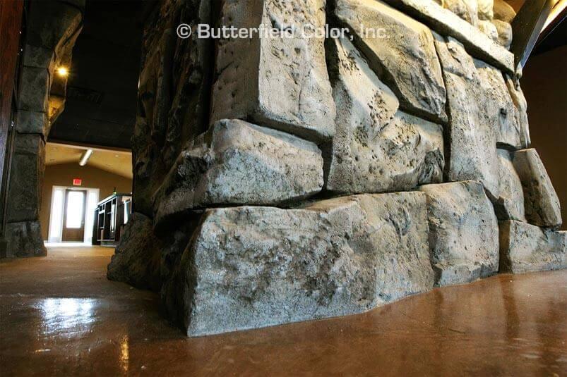 concrete wall that looks like stone
