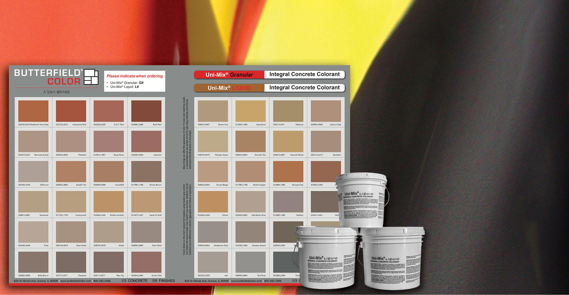 Uni-Mix Liquid Integral Concrete Colorant Colors