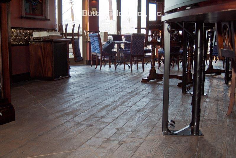 concrete wood plank flooring