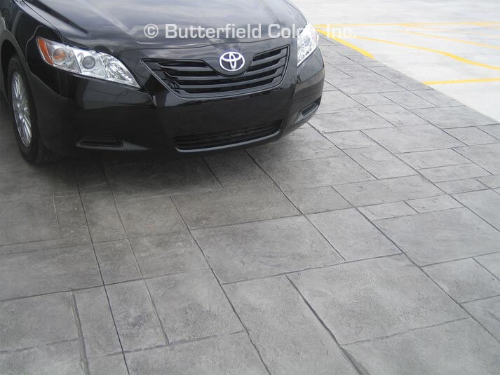stamped concrete at a car dealership