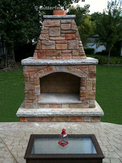decorative concrete outdoor fireplace