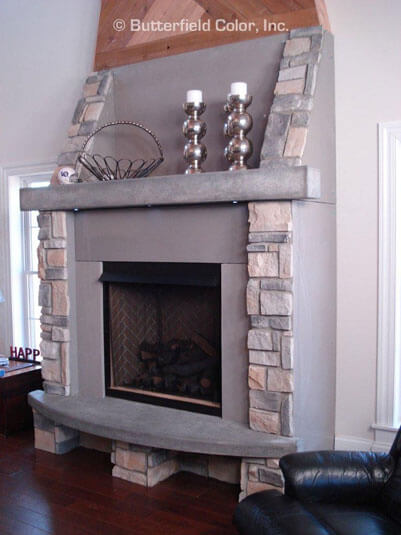 Concrete fireplace mantle