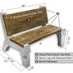 Concrete Bench Mold with Backrest System Sample with Specs