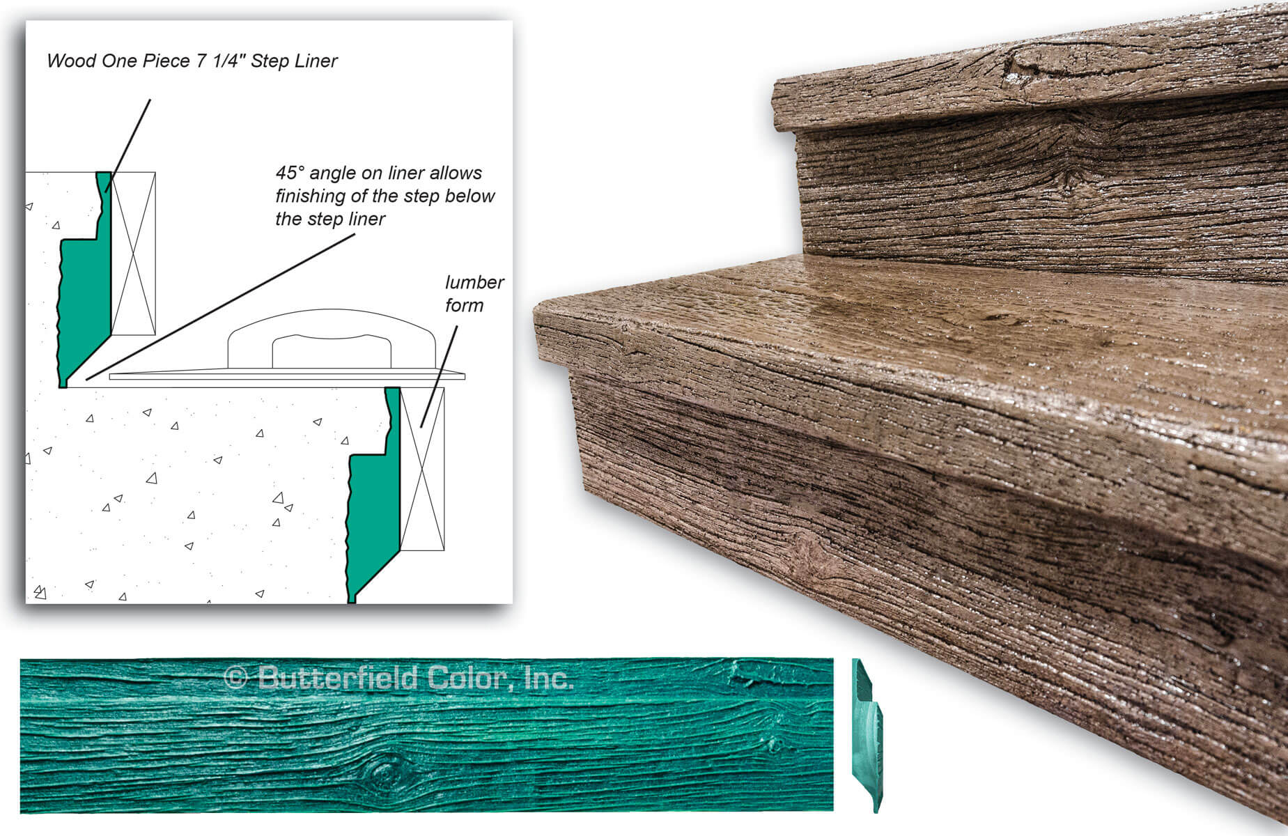 Wood One Piece Step Liner Butterfield Color 174